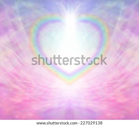 Rainbow Heart Frame - Rainbow Heart shape making a border on a radiating delicate pink background with a light burst at the top of the heart - stock photo
