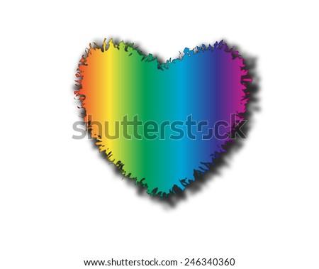 rainbow Heart, Isolated On White Background, Illustration - stock photo