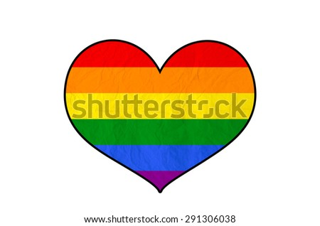 Rainbow Heart with vintage paper texture, isolate on white with clipping path - Homosexual, gay and love concept - stock photo