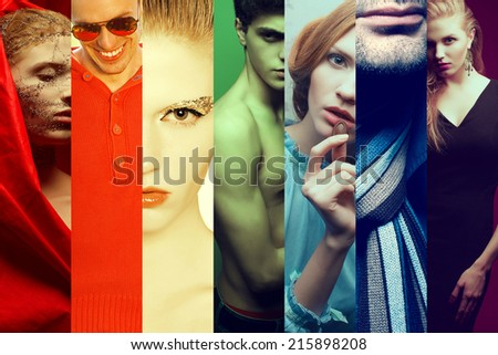 Rainbow hipster people concept. Collage (mosaic) of fashionable men, women with stylish accessories, glasses, food wearing trendy clothes. Casual, vintage, retro, grunge style. Close up. Studio shot - stock photo