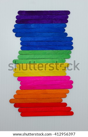 Rainbow ice cream sticks , colorful wood ice-cream stick background