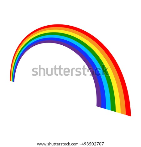 Rainbow icon. Shape arch cartoon, isolated on white background. Colorful light and bright design element for decorative. Symbol rain, sky, clear, nature. Flat simple graphic style. illustration