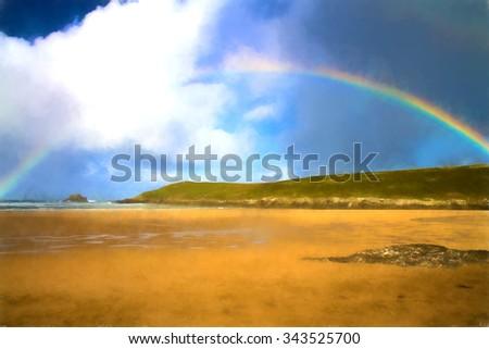 Rainbow in Cornwall at the beach Crantock near Newquay England UK like water colour - stock photo