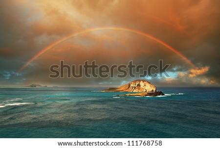 rainbow in Hawaii island - stock photo