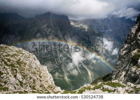 Rainbow in Mountains in Triglav National Park in Slovenia