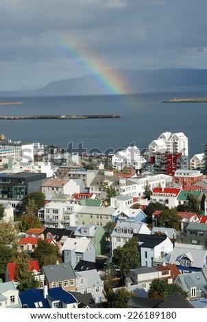 Rainbow in Reykjavik city of iceland - stock photo