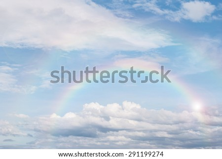 rainbow in the blue sky after the rain, for background - stock photo