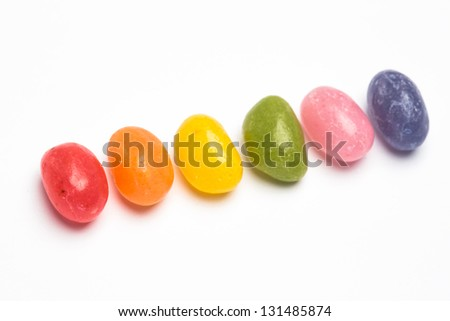 Rainbow jellybeans for gay pride - stock photo