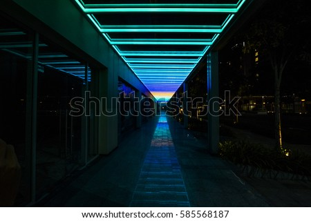 Rainbow light color pathway in Sai Gon, Viet Nam.