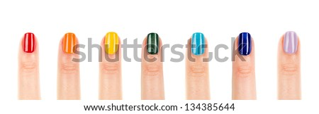 rainbow manicure, seven color nail polish - stock photo