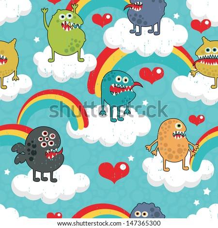 Rainbow Monster Party. - stock photo