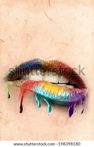 rainbow on lips - stock photo
