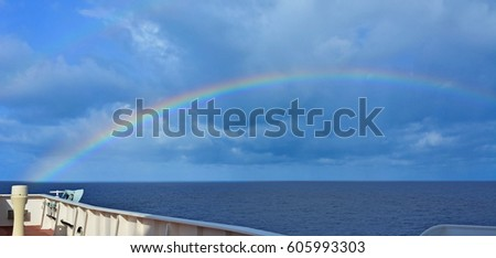 Rainbow on navigation bridge of large tanker