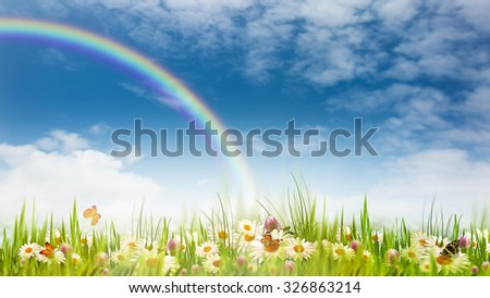 Rainbow on the meadow, abstract natural backgrounds for your design - stock photo