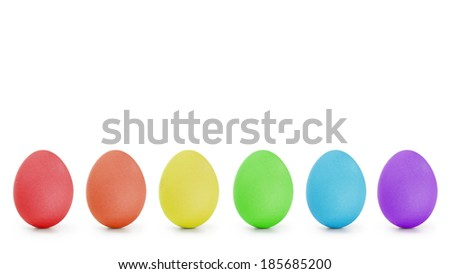 rainbow order easter eggs in a row, isolated on white background - stock photo