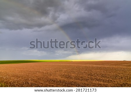 Rainbow over a wheat farm near Colfax, Whitman County, Washington State, US.