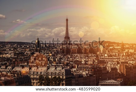 Rainbow over and sunset Eiffel tower, Paris