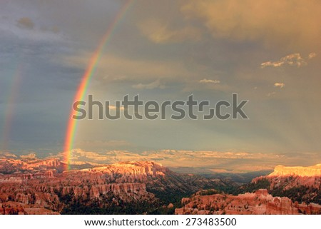 Rainbow over Bryce Canyon, Utah, USA. - stock photo