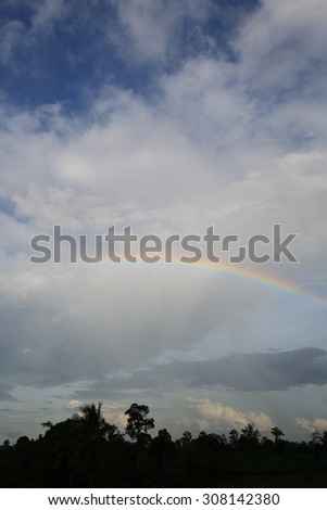 Rainbow over clouds in the blue sky