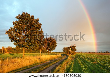Rainbow over field road at sunset light - stock photo