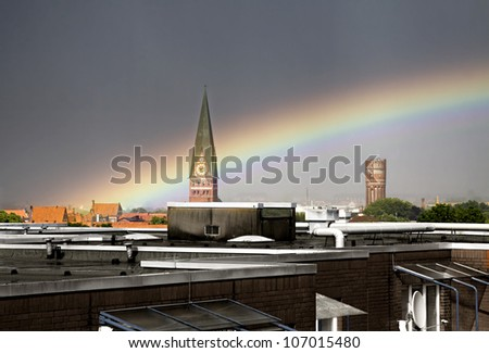 Rainbow over Lueneburg, Germany (near Hamburg)