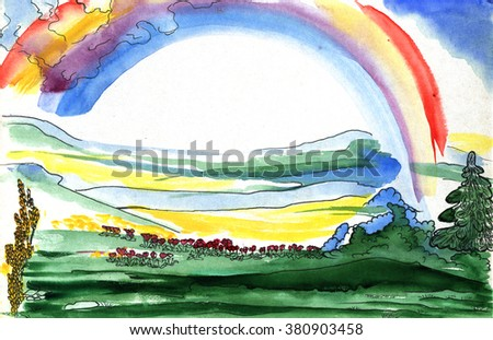 Rainbow over the valley among the mountains, where the river flows. Drawing watercolor. - stock photo