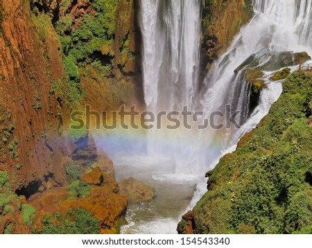 Rainbow over Waterfall of Ouzoud in Morocco, Africa - stock photo