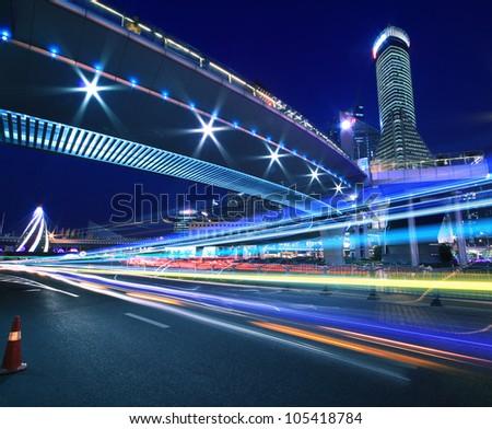 Rainbow overpass cityscape highway night scene in Shanghai - stock photo