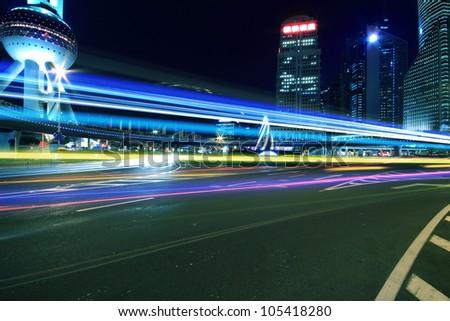 Rainbow overpass Ring highway night scene in Shanghai - stock photo