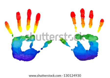 Rainbow painted hand shape isolated on white