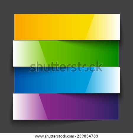 Rainbow paper stripe banners with shadows on dark grey background - stock photo