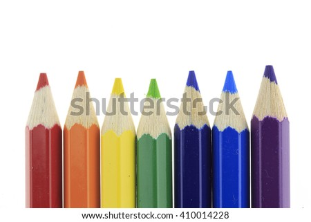 Rainbow Pencils on white background. - stock photo