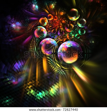 Rainbow psychedelic pearls and pixels - stock photo