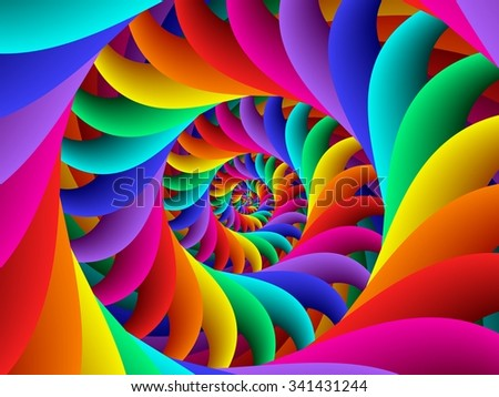 Rainbow Psychedelic Spiral Fractal Background