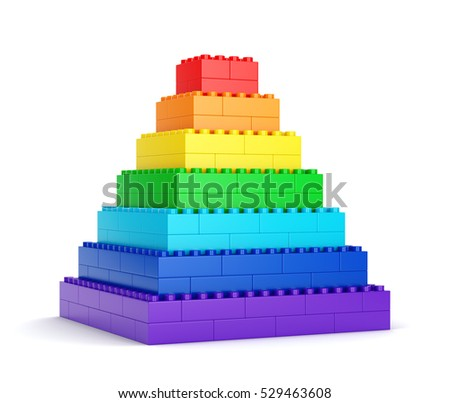 Rainbow pyramid made of plastic toy blocks isolated on white background. 3D illustration