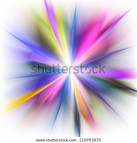 Rainbow rays on white background. Abstract background. - stock photo