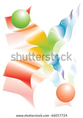 Rainbow ribbons - stock photo