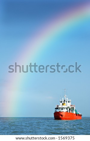rainbow ship - stock photo