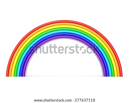Rainbow. Side view. 3D render illustration isolated on white background