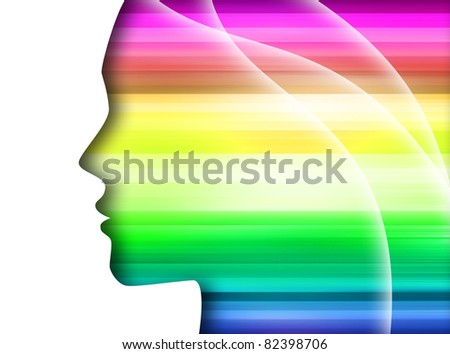 rainbow silhouette of the head isolated on a white background - stock photo
