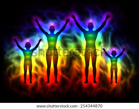 Rainbow silhouette with aura and chakras - family - stock photo