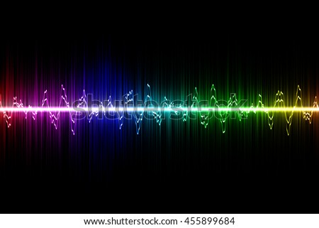 rainbow sound wave on black background