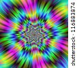Rainbow Star/Digital abstract image with an exploding star design in blue, green, pink, yellow and turquoise. - stock photo
