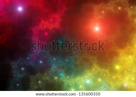 Rainbow star-scape: colorful fractal design composed of glowing points of light and fine spiraling lines - stock photo
