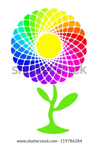 Rainbow sunflower full of colors - stock photo
