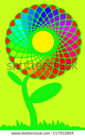 Rainbow sunflower full of colors on green - stock photo