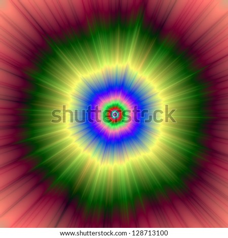 Rainbow Super Nova / Digital abstract fractal image with a psychedelic super nova design in green, red, blue and yellow. - stock photo