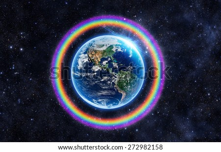 Rainbow Surrounds the Earth - Elements of this Image Furnished by NASA - stock photo