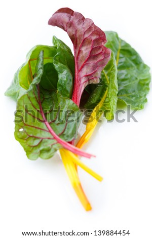 Rainbow Swiss chard on white background - stock photo