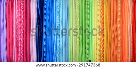 Rainbow thread texture, abstract colorful background - stock photo